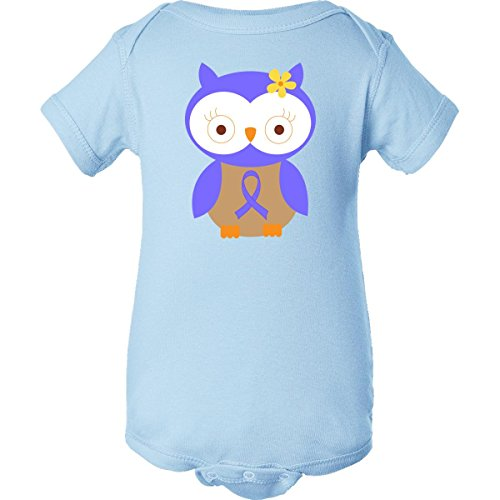 Inktastic Unisex Baby Periwinkle Ribbon Owl Awareness Infant Creeper Newborn Baby Blue front-650062
