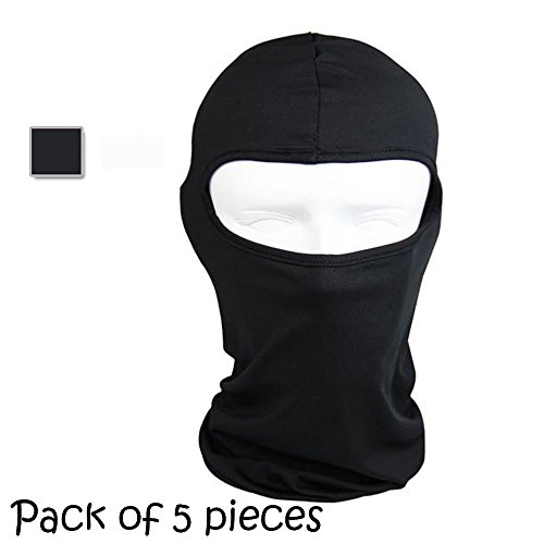 Ezyoutdoor 5 pieces Winter Thermal FLEECE Swat Ski Neck Hoods Full Face Mask Cover Hat Cap for Riding Cycling Hunting Fishing Walking Outdoor Sports (black)