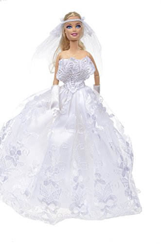 Banana Kong White Gorgeous Wedding Dress Princess Gown For Doll - 1
