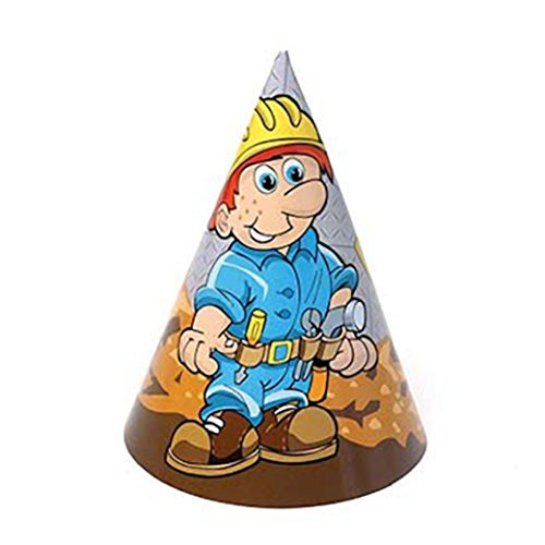 Dozen Construction Theme Paper Birthday Party Hats With Chin Straps