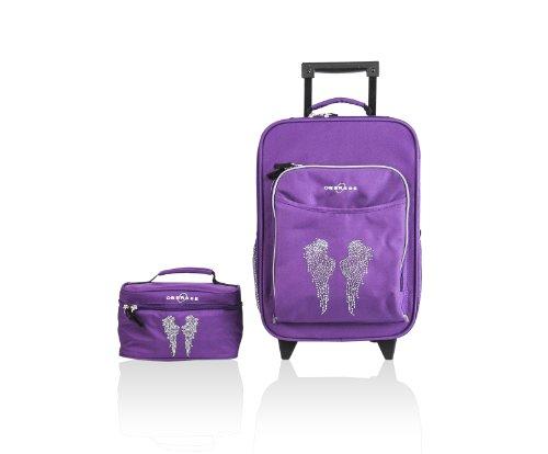 Obersee O3 Kids Luggage And Toiletry Bag Set, Rhinestone Angel Wings