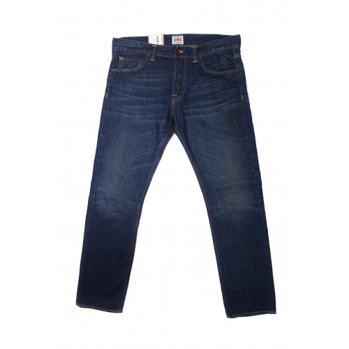 Edwin mens ED-71 slim fit straight leg 10.3 oz denim jeans in burner wash blue 36 L