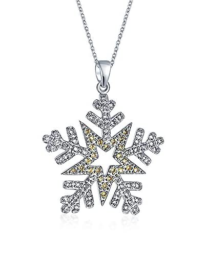 Bling Jewelry Star Flake Pendant Necklace