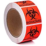 "500-count, Biohazard Warning Label Sticker, 2"" Length x 2"" Width, Permanent Adhesive, Round Corners, Fluorescent Red/Orange, 500 Stickers per Roll"