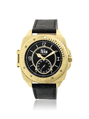 Reign Automatic Men's Churchill Black Leather Watch