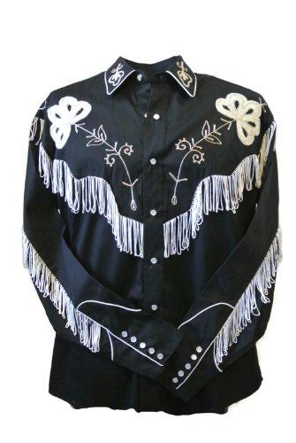 Rockmount Men's Vintage Western Embroidered Fringe Snap Shirt 0