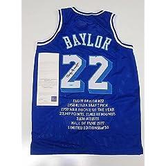Autographed Elgin Baylor Jersey - Throwback Stat Coa - Upper Deck Certified -...