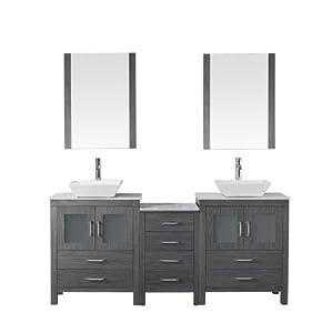 Virtu USA KD 70066 WM ZG Modern 66 Inch Double Sink Bathroom Vanity Set With