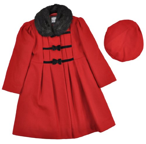 Rothschild Toddler Girls Scarlet Red Faux Fur Trim Wool Coat With Hat (4T)