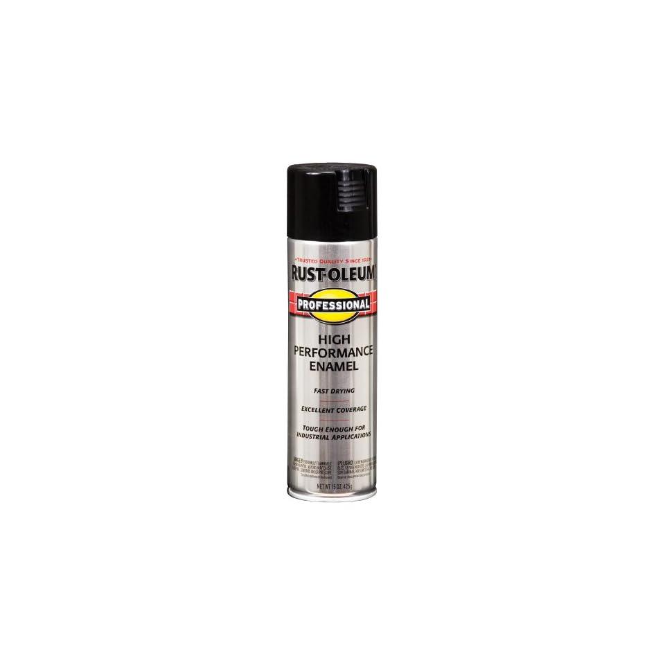 Rust Oleum 7579838 Professional High Performance Enamel Spray Paint, Gloss Black, 15 Ounce
