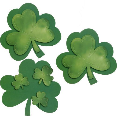 Shamrock w/Foil Applique Cutout Assortment (3 ct)