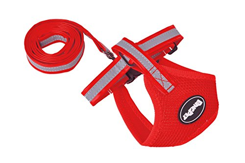PUPTECK Mesh Soft Pet Dog Harness and Leather Leash Set Reflective,Red Large (Simply Dog Body Harness compare prices)
