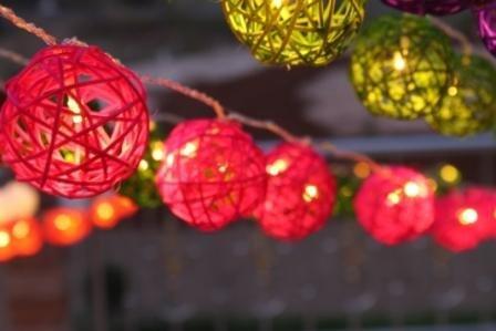 New Solar Powered Led Pink Rattan Garden Lantern Fairy Light String