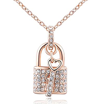 Women Charm Lady Jewelry Pendant Rose Gold Century Blockade Chain Necklace