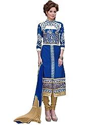 Women's Blue & Beige Embroidered Cotton Semi Stitched Salwar Suit