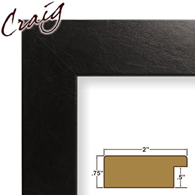 11x12 Custom Picture Frame / Poster Frame 2 Wide Complete Black Executive Leather Frame (74093)