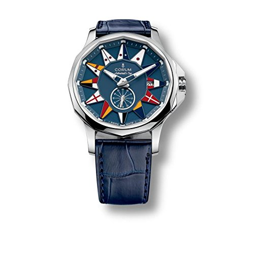 Corum Admirals Cup Legend 42 Homme 42mm Bracelet Cuir Bleu Saphire Automatique Montre 395.101.20/OF03 AB12