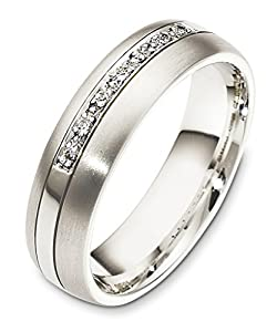 Mens Platinum, Single Row Pave 6MM Wedding Band, 1/20 cttw