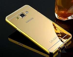 Samsung Galaxy Grand 9082 Luxury Aluminium Bumper With Mirror Acrylic Back Cover - Gold