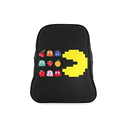 LJSWG Classic Creepy Pac Man Ghost Children School High-grade PU Leather Backpack Bag Shoulder Bag ()