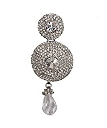 Silver Stone Studded Silver Plated Crystal Drop Bun Hair Clip