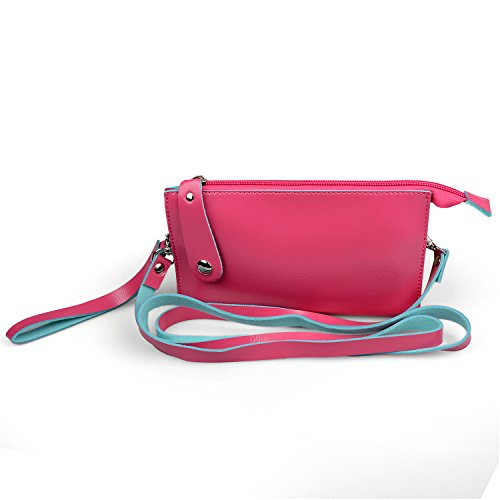 Cellphone Wallet Case Handbag Phone Pouch Bag Purse with Shoulder Strap and Hand Strap for iPhone 6/6s/6Plus/ 6s Plus /Samsung Phones and other mobilephones below 5.5 inche + Hy Stylus (Hot Pink)