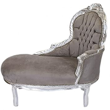 Casa Padrino Baroque kids chaise lounge Grey / Silver Mod2 - Baroque Furniture
