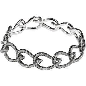 14K White Gold 7 3/4 Ct Tw 14Kw Black Rhodium Black And White Gold Diamond Bracelet