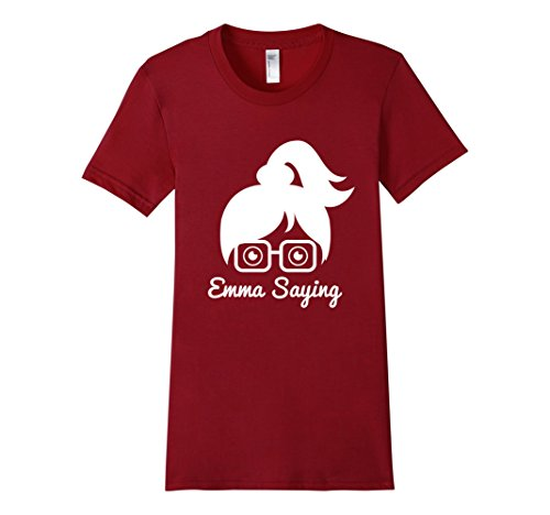 Womens-EmmaSaying-Fan-Club-Logo-T-Shirt-Nerdy-Girl-With-Glasses-Cranberry