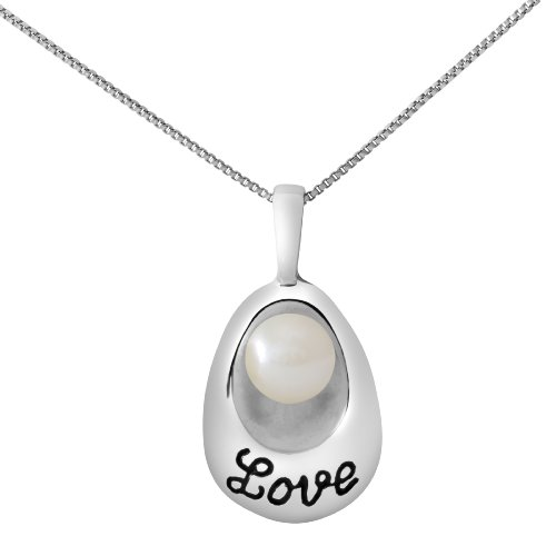Sterling Silver Love Engraved Fresh Water Pearl Pendant Necklace with 18