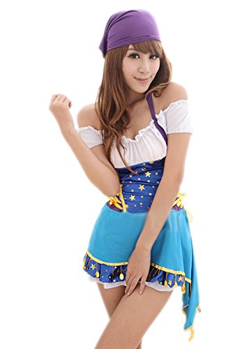 Lasexy Women Off Shoulder Pirate Game Halloween Cosplay Costume Clubwear Dress