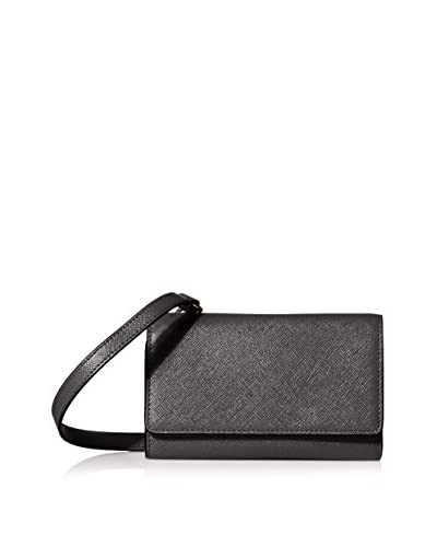 SOCIETY NEW YORK Women's Wallet with Cross-Body Strap, Black
