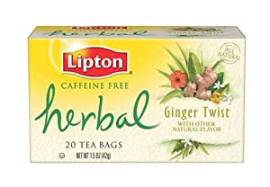 Lipton Herbal Tea, Ginger Twist, Tea Bags, 20-Count Boxes (Pack of 6)