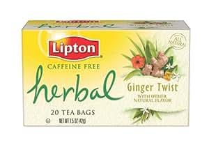 Lipton Herbal Tea, Ginger Twist, Tea Bags, 20-Count Boxes (Pack of 6)
