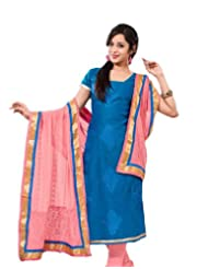 Surat Tex Blue Color Casual Wear Embroidered Chanderi Semi-Stitched Salwar Suit-E331DL7506SM