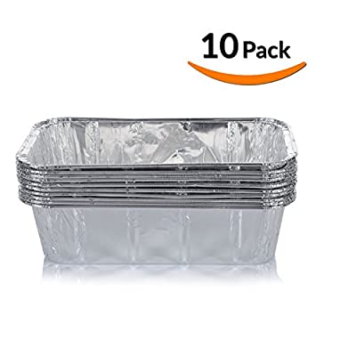DOBI Loaf Pans - Disposable Aluminum Foil 2Lb Bread Tins, Standard Size - 8.5 X 4.5 X 2.5 Inches, Pack of 10. Favorite Bread Pan Size for Homemade Cakes, Breads, Meatloaf and quiche