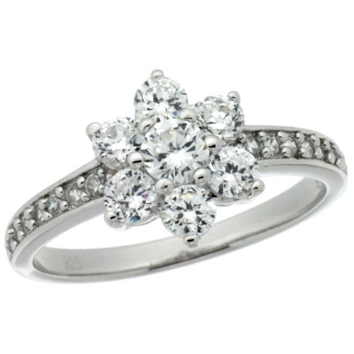 Sterling Silver Vintage Style Flower Cluster Engagement Ring w/ Brilliant Cut CZ Stones, 3/8 in. (10mm) wide, size 9