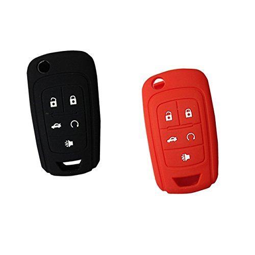 2pcs-new-silicone-black-and-red-remote-key-cover-holder-jacket-for-chevrolet-camaro-cruze-volt-equin