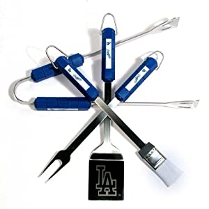 Motorhead Products MH5115 MLB 4-Piece BBQ Grilling Utensil Set, Dodgers by MotorHead Products