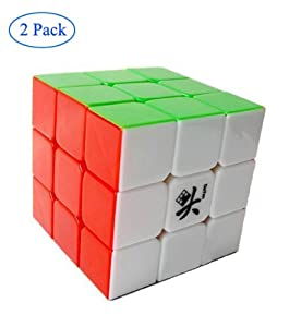 Finegood Dayan 5 ZhanChi 3x3x3 Speed Cube 6-Color Stickerless (2 Pack) With One Free Cube Bag