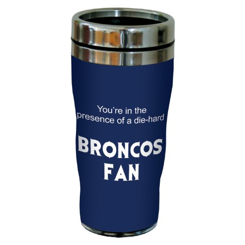 Tree-Free Greetings Sg24116 Broncos Football Fan Sip 'N Go Stainless Steel Lined Travel Tumbler, 16-Ounce