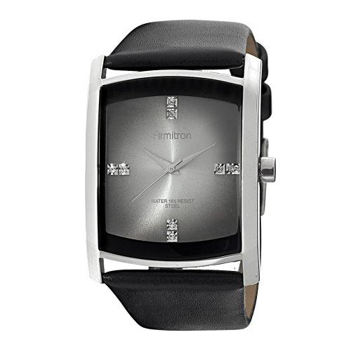 Armitron Men's 204604DGSVBK Swarovski Crystal Accented Stainless Steel Dress Watch