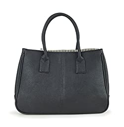 Hoxis Summer Colorful Basic Handbag Office Lady Minimalist Pebbled Faux Leather Tote/ Magnetic Snap Purse(Black)