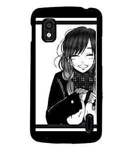 PrintDhaba Smiling Girl D-1313 Back Case Cover for LG GOOGLE NEXUS 4 (Multi-Coloured)