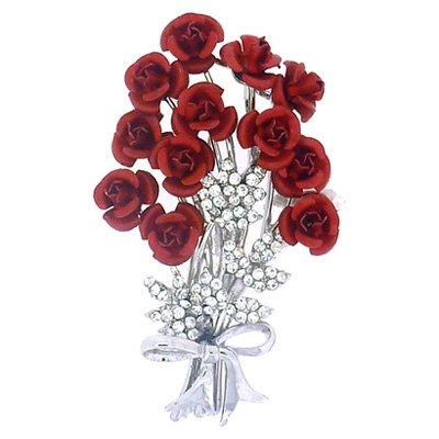 Brooches Store Bunch of 12 Red and Crystal Rose Flower Bouquet Brooch