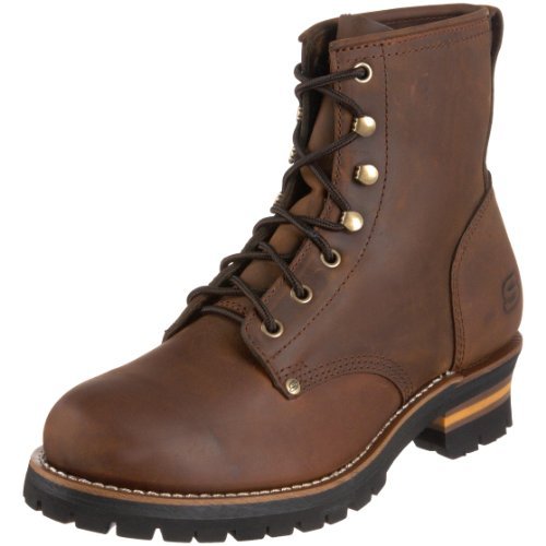 Skechers USA Men's Cascades Logger Boot,Dark Brown,8 M US