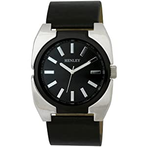 Henley Men's Polished Chrome and Enamel Fashion Quartz Watch with Black Dial Analogue Display and Black Silicone Strap H02051.3