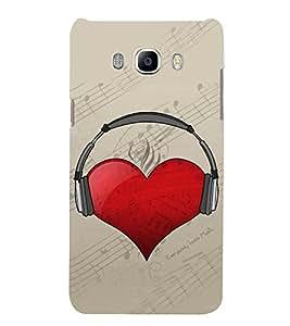 Heart with Headphone 3D Hard Polycarbonate Designer Back Case Cover for Samsung Galaxy J7 (6) 2016 Edition :: Samsung Galaxy J7 (2016) Duos :: Samsung Galaxy J7 2016 J710F J710FN J710M J710H