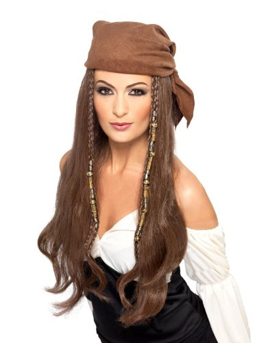 Smiffy's Pirate Wig, Brown, One Size Pirate Costume Wig