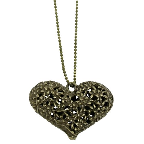 Rosallini Women Hollow out Heart Pendant Bronze Tone Beaded Chain Opera Necklace